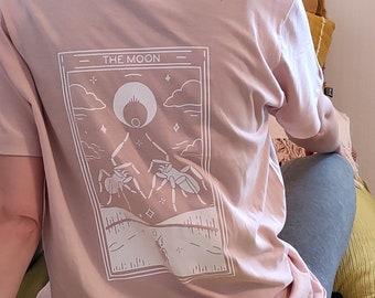 Shirt with moon tarot card design on the back, moon and stars shirt, pastel goth tarot shirt | Organic cotton, white on pink