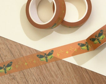 Washi tape with moth motif, a roll of orange washi tape with insects, cute washi with beetle