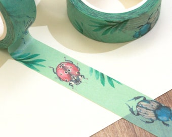 Washi tape with bugs, a roll of paper tape with insects, cute green washi with beetles