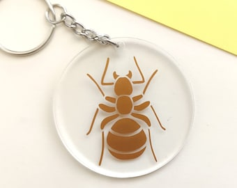 Ant key chain, ant pendant, key ring with insect - transparent with copper colored beetle