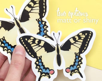 light yellow butterfly, swallowtail, waterproof vinyl sticker matt or glossy - different options available