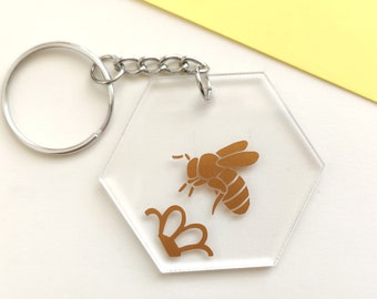 Bee key chain, bumblebee and flower pendant, key ring with insect - transparent with copper colored beetle