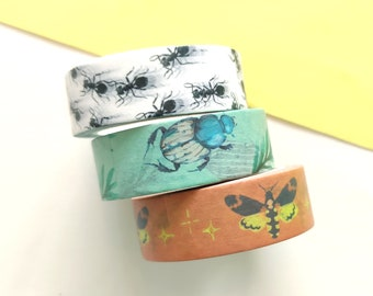 Set of 3 washi tapes with insects, three designs in one set, three rolls - moth, ant and beetle