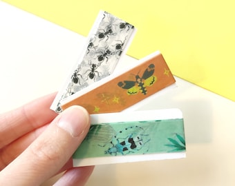 Washi tape SAMPLE with insects pattern | Decorative masking tape | Cute colorful washi tapes
