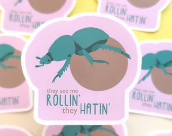 they see me rolling they hating sticker waterresistent with dung beetle, funny beetle sticker for insect nerd