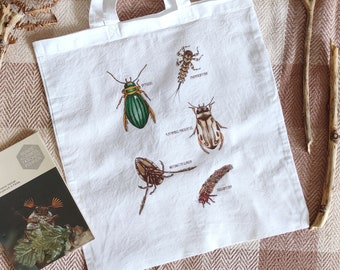 Cotton bag with insects, insect tote bag, reusable grocery bag