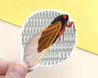 Brood X cicada sticker | Vinyl sticker with insect design | periodical cidada waterproof sticker