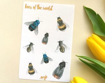 Bumblebee sticker sheet for journalling, cute honey bees planner stickers, summer vibes