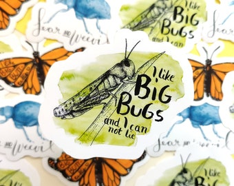 Insect Nerd Sticker Bundle: Set of 3 insect stickers with jokes, funny entomology sticker for Insectlovers, waterproof