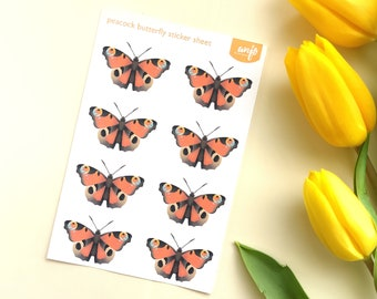 peacock butterfly as sticker sheet, red butterfly sticker sheet with butterflies, for journal planner or scrapbook