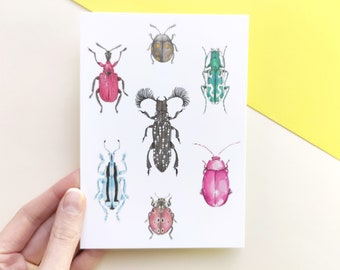 Postcard with illustraed beetles, insect chart with collorful beetles, cute animal postcard with insects