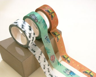 A roll of Washitape, design to choose from, three designs to choose from, Beetle, Moth, Ant - Insect Washi Tape