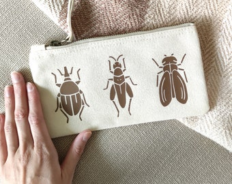 Pencil case with insect design, Cotton case with beetles, Bug Design small case
