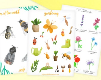 Set of three sticker sheets for bee friends - bees, nursery and plants stickers - stickers for journal