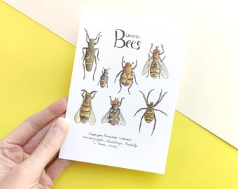 Wanna-Bees postcards, insects with bees mimicry, insect drawing, card in A6