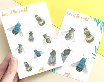 Bee Sticker Sheets in set with cute bumble bees, two sticker sheets with small bees for planner, snail mail or your journal
