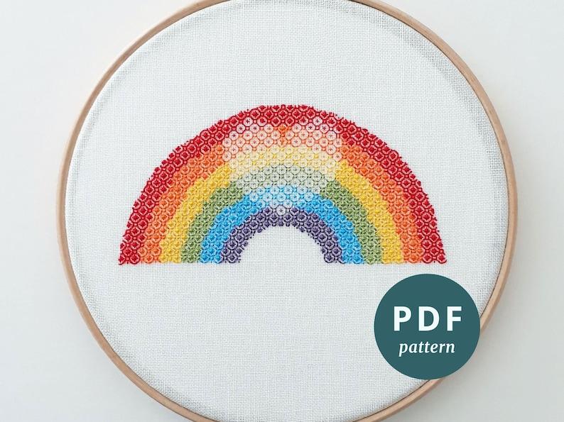 Blackwork rainbow embroidery PDF pattern Rainbow heart DIY image 0