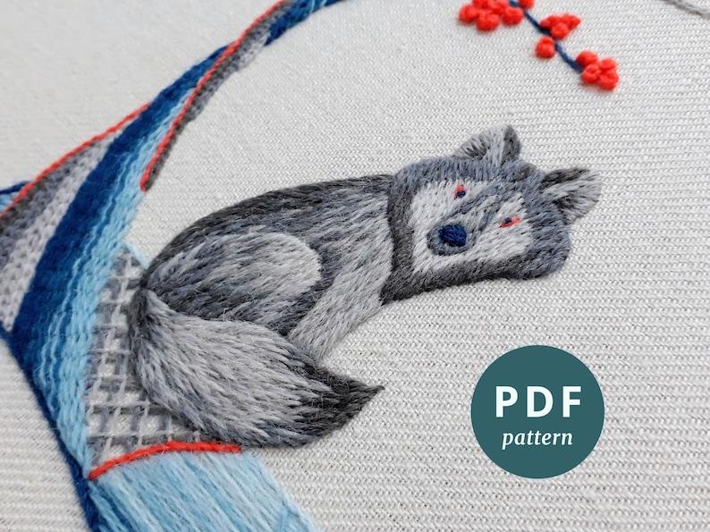 Wolf crewel embroidery PDF pattern DIY hoop art digital image 0