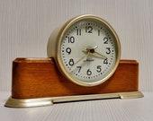 Rare Soviet Desk Clock Majak.Fireplace clock.Russian Clock Voshod.Desk clock USSR.Mechanical clock USSR.Old mantel clock. Wooden Desk clock
