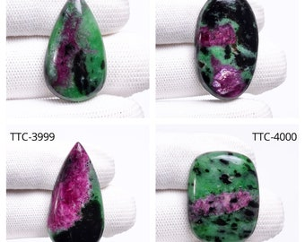 86CTS..A#4616 Natural Ruby ziosite  pear cabochon..45x33x5xmm.