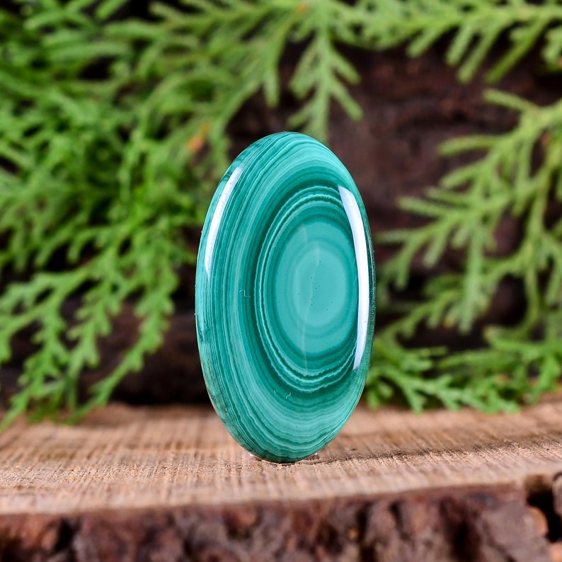 Approx 37X20X5 mm 42Cts Natural Malachite Cabochon Gemstone Malachite Oval Shape Cabochon Loose Gemstone For Jewelry