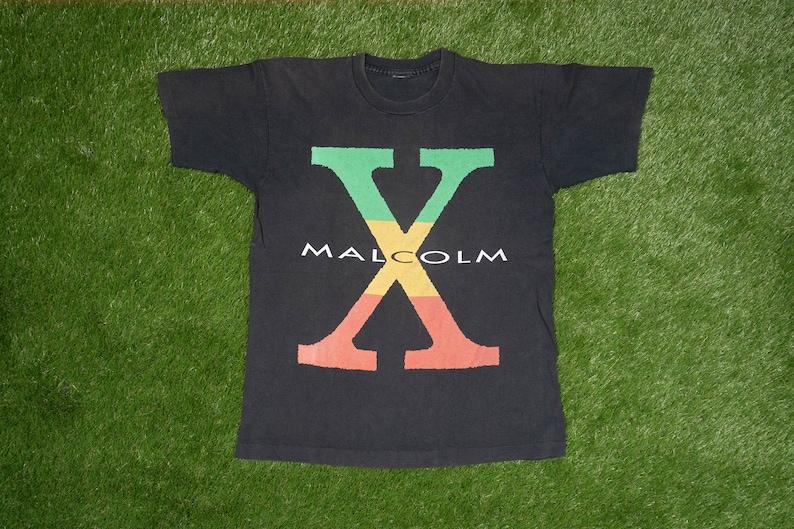 M-L 90s Singlestitch Tee  Martin Luther King Black Panther Public Enemy PE  Hip Hop Rap Tupac Bootleg 80s Vintage MALCOLM X T-Shirt