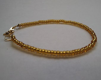 Gold Lined Czech Glass Beads with Gold Spring Ring Bracelet - Women's Jewelry - Stacking - Layering - Dressy Bracelet