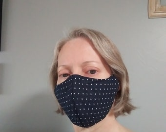 CLEARANCE! Cotton Face Masks with Nose Wire, Adjustable Cord Ends, Filter Pocket - Navy Blue Polka Dot Face Mask - MERV13 Filters AVAILABLE