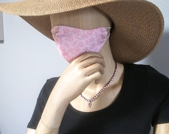 CLEARANCE Cotton Face Mask, Pink Roses with Nose Wire, Adjustable Cord Ends and Filter Pocket Open on Both Ends, MERV13 Filters AVAILABLE