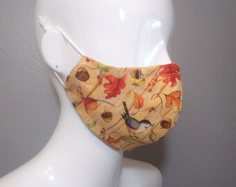 CLEARANCE Cotton Face Mask with Nose Wire, Adjustable Cord Locks, Filter Pocket, Fall Leaves and Birds Pattern, MERV13 Filters AVAILABLE