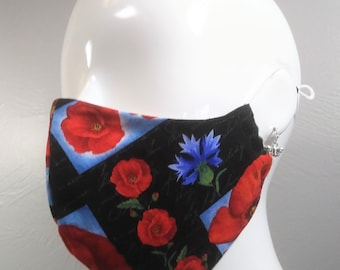 CLEARANCE Cotton Face Mask, Poppies on Black, Adjustable Silicone Locks, Adjustable Nose Wire, MERV13 Filters AVAILABLE