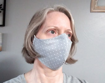 CLEARANCE Cotton Face Mask, Gray Polka Dots, Nose Wire & Adjustable Cord Ends, Filter Pockets Open on Both Ends, MERV13 Filter AVAILABLE