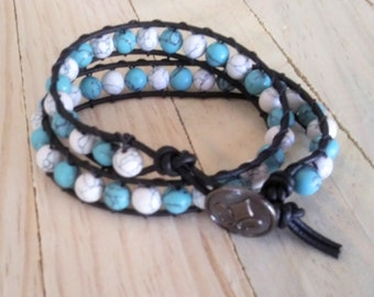 Double Wrap Boho Leather Bracelet - White and Turquoise Howlite on Black Leather with Antique Silver Button - Chan Luu Style Wrap Bracelet