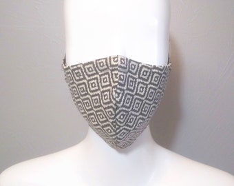 CLEARANCE Cotton Face Mask with Nose Wire, Adjustable Cord Locks, Filter Pocket, Black Diamond Pattern, MERV13 Filters AVAILABLE
