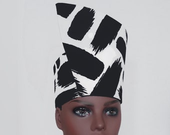Size Small to X-Large. African Tribal Hat Headdress Open Crown Kente Fabric Handmade