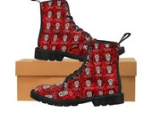 Day of the Dead Women 39 s Doc Inspired Boots Dia De Los Muertos Sugar Skulls Halloween Shoes Cosplay Shoes Red Boots