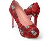 Day of the Dead Women 39 s Platform Heels Dia De Los Muertos Sugar Skulls Halloween Shoes Cosplay Shoes Red High Heels Rose Heels
