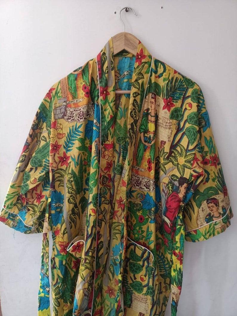 Indian Frida Kahlo Kimono Robe Kimono Cardigan Nights costume body coverups Indian kimono Robe Japanese kimono Robes Bridesmaid Robe Bath