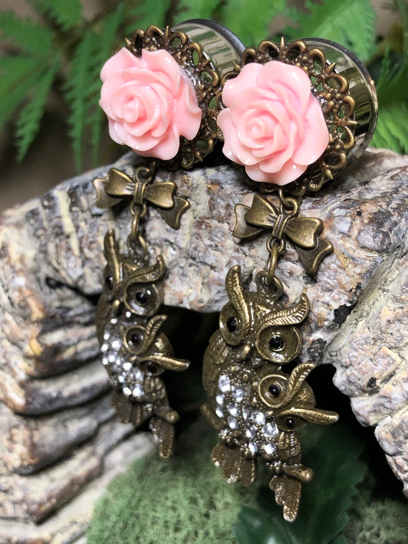 22mm 78th Dangly Baby Pink Roses And Owls Fashion Stainless Steel Double Flared Plugs