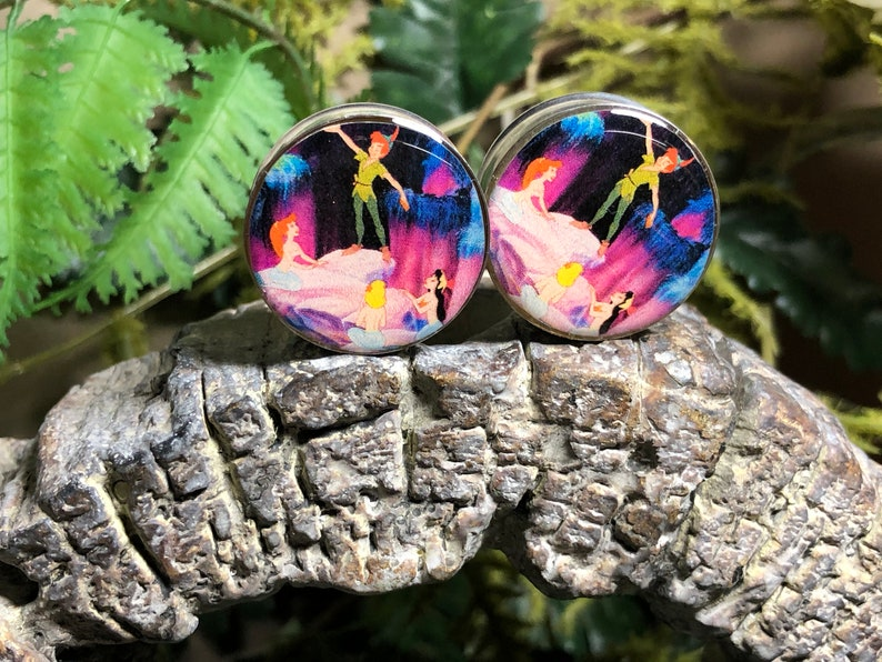 Character Mermaids Lagoon Image Double Flared Stainless Steel Plugs 25mm 1 inch