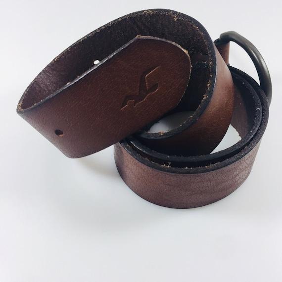 Men's belt Hollister Leather brown belt Genuine le