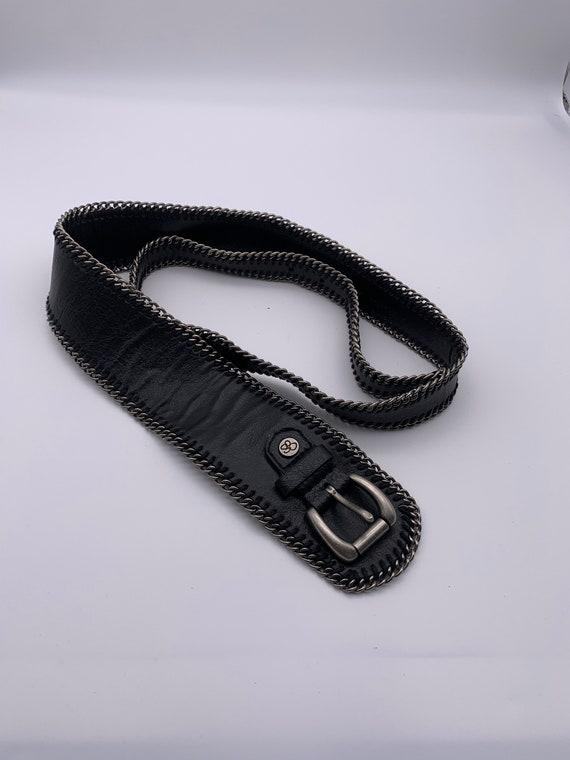 Women's belt Black leather/metal belt Vintage belt