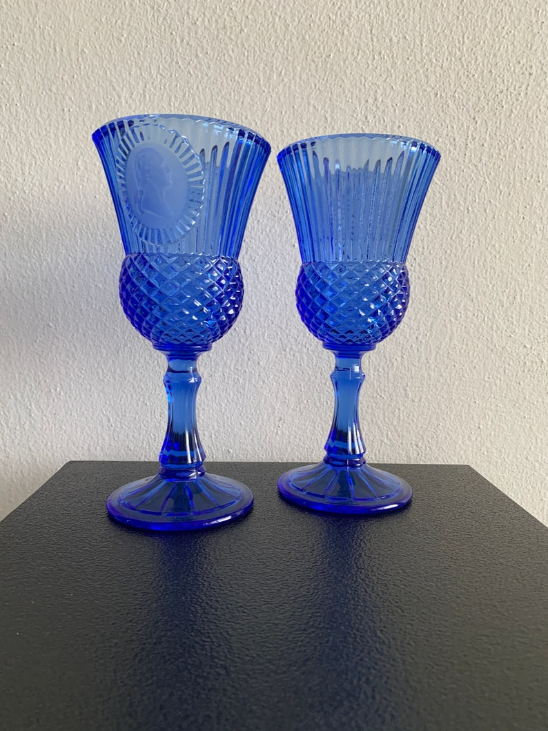 Vintage Blue Glasses Cobalt glasses Washington Avon Wine Glasses Candle holder Pair of Avon cobalt blue wine glasses