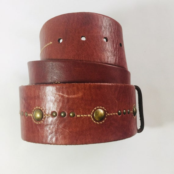 Fossil brown leather belt Men's belt Vintage weste