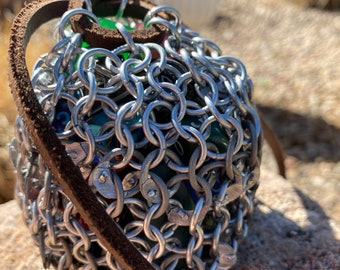 Half butted half riveted aluminum chainmail dice bag for d&d (dungeons and dragons/DnD)