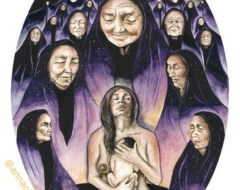 "9x12 ""The Remembering"" Fine Art Print Birth Art Ancestral healing art"