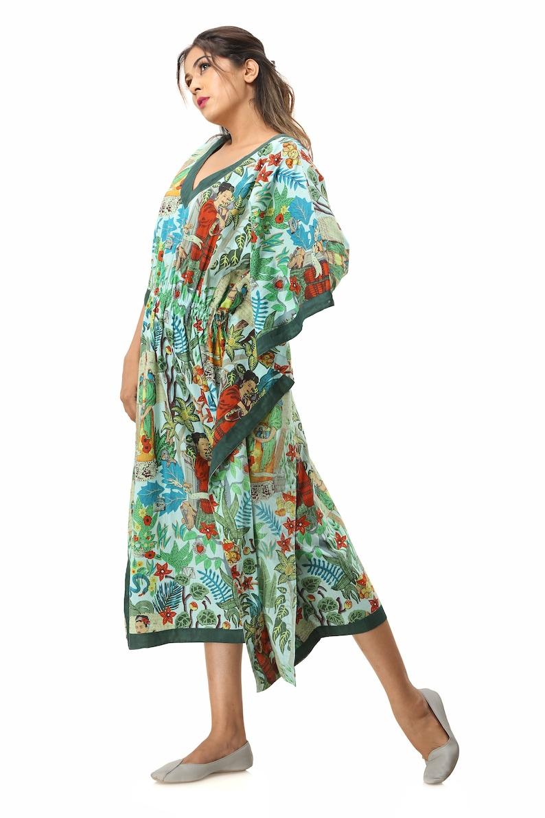 maternity robe shower robe womens cotton famous author frida kahlo print kaftan free size sleep wear long dress made in jaipur mexico city