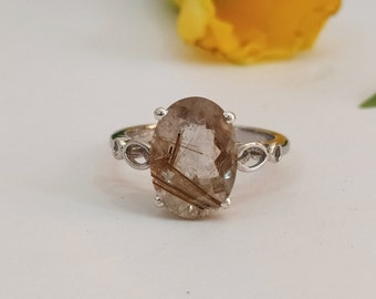 Triple Band Ring Twisted Bezel Set Oval Rutile Ring Gift Ring Natural Gemstone Golden Rutilated Quartz Golden Gemstone Solitaire Ring