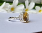 Natural Big Citrine Cocktail Ring-Huge Golden Topaz Birthstone Ring-Citrine Vintage Ring Silver-925 Solid Sterling Silver Jewelry Ring-US611