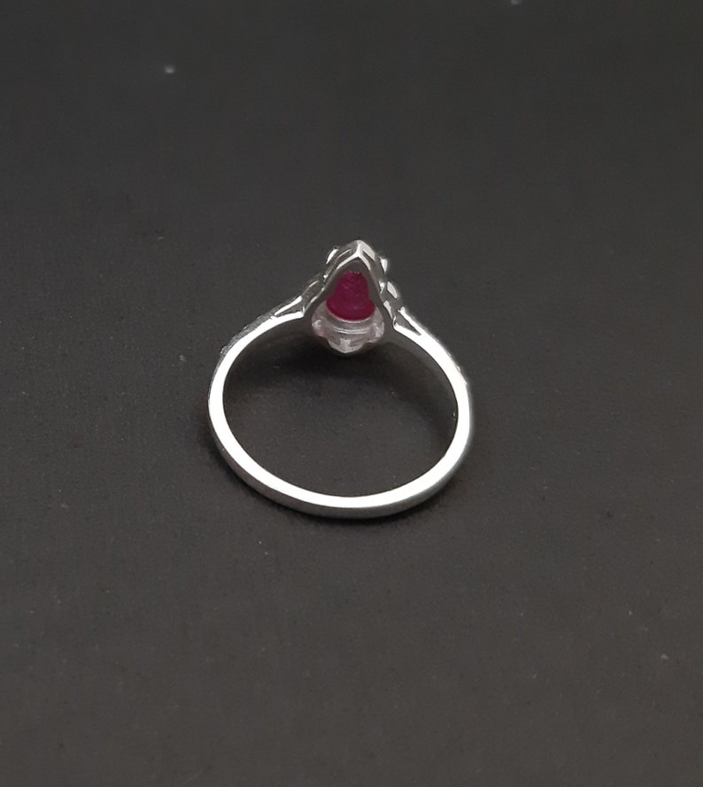925 Solid Sterling Silver Ring-Red Ruby Ring-Jewelry Handmade-Pear Cabochon Ruby-Natural Genuine Gemstone Ring-Size US 5-10 Gift For Mom